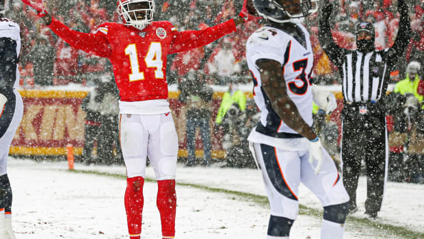 Dec 15, 2019; Kansas City, MO, USA; Kansas City Chiefs wide receiver Sammy Watkins (14) celebrates after converting a two-point conversion against the Denver Broncos during the second half at Arrowhead Stadium. Mandatory Credit: Jay Biggerstaff-USA TODAY Sports