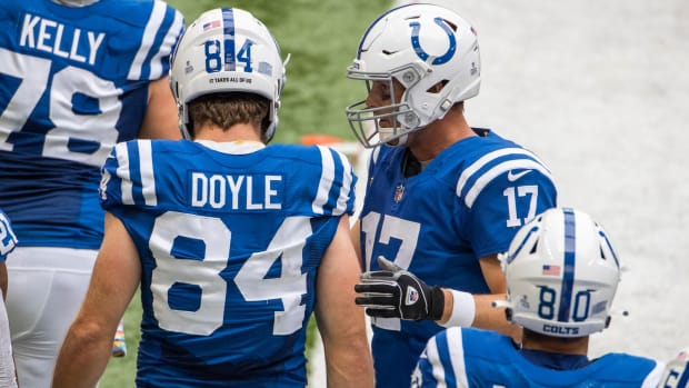 Indianapolis Colts quarterback Philip Rivers (17) utilized tight ends Jack Doyle (84) and Trey Burton with TD passes to each in Sunday's home win over the Cincinnati Bengals.