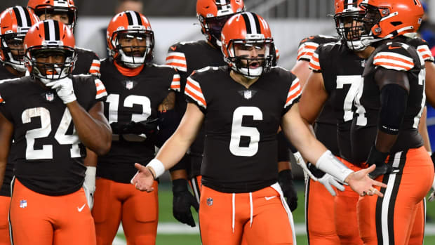 Sep 17, 2020; Cleveland, Ohio, USA; Cleveland Browns quarterback Baker Mayfield (6) argues a penalty call during the first half at FirstEnergy Stadium. Mandatory Credit: Ken Blaze-USA TODAY Sports