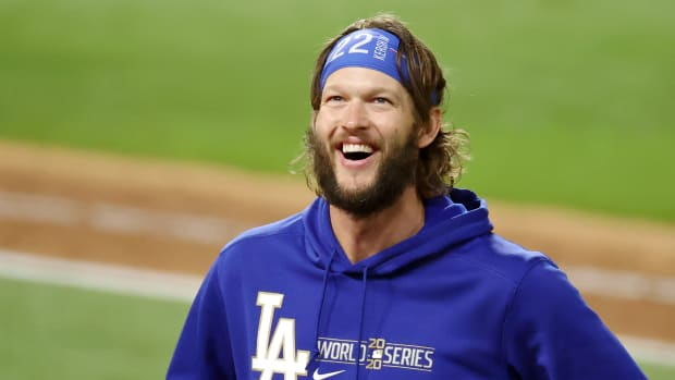 Los Angeles Dodgers starting pitcher Clayton Kershaw (22) celebrates their win over the Tampa Bay Rays in game five of the 2020 World Series at Globe Life Field. The Los Angeles Dodgers won 4-2.
