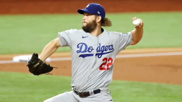 Los Angeles Dodgers starting pitcher Clayton Kershaw (22) pitches against the Tampa Bay Rays during the first inning during the first inning during game five of the 2020 World Series