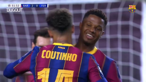 Coutinho's first 2020/21 Champions League goal for Barcelona