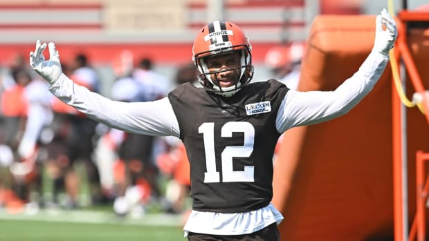 Aug 14, 2020; Berea, Ohio, USA; Cleveland Browns wide receiver KhaDarel Hodge (12) celebrates a long touchdown catch during training camp at the Cleveland Browns training facility. Mandatory Credit: Ken Blaze-USA TODAY Sports