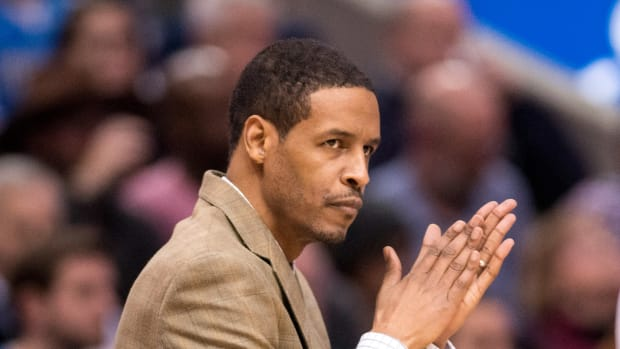 Dallas Mavericks assistant coach Stephen Silas during the game against the Atlanta Hawks at the American Airlines Center.