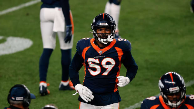 Denver Broncos linebacker Malik Reed (59) in the third quarter against the Tennessee Titans at Empower Field at Mile High.