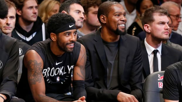 Kevin Durant and Kyrie Irving of the Brooklyn Nets during a game against the New York Knicks