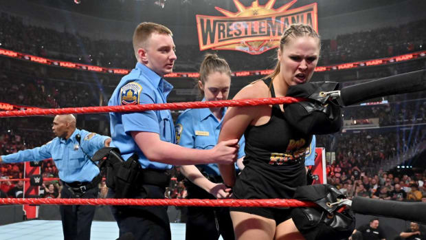 "Ronda Rousey is ""arrested"" in the WWE ring on Raw"