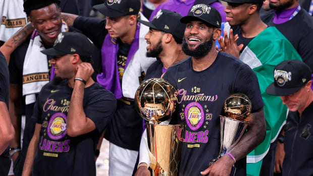 LeBron James and the Lakers celebrate after winning NBA championship