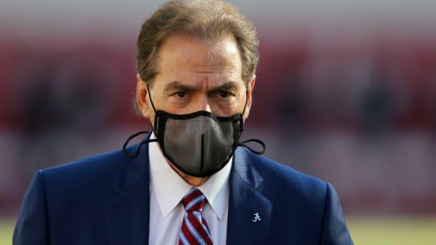 Nick Saban with mask