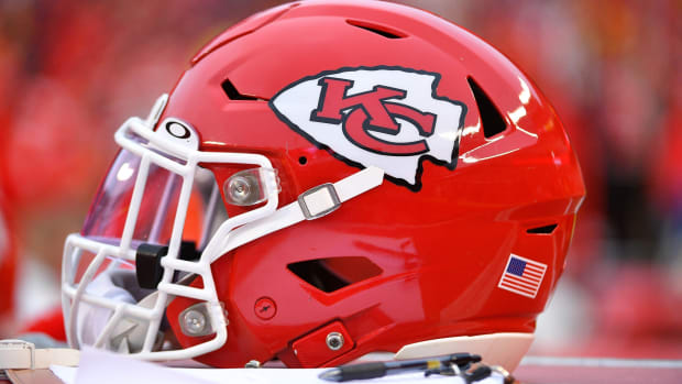 Dec 1, 2019; Kansas City, MO, USA; A general view of a Kansas City Chiefs helmet during the first half against the Oakland Raiders at Arrowhead Stadium. Mandatory Credit: Denny Medley-USA TODAY Sports