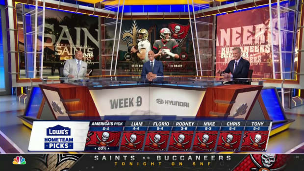 Screenshot of NBC's Sunday Night Football panel unanimously picking Buccaneers over Saints