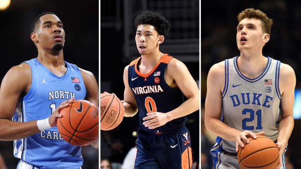 UNC's Garrison Brooks, Virginia's Kihei Clark and Duke's Matthew Hurt