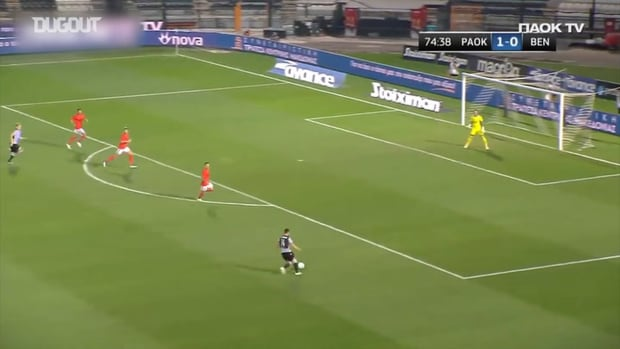 Živković finishes Giannoulis' great pass against Benfica