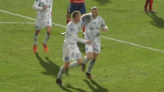 Nicolai Geertsen celebrates after scoring for Lyngby BK