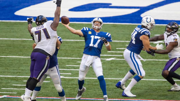 Indianapolis Colts quarterback Philip Rivers tries to throw deep in Sunday's home loss to the Baltimore Ravens.
