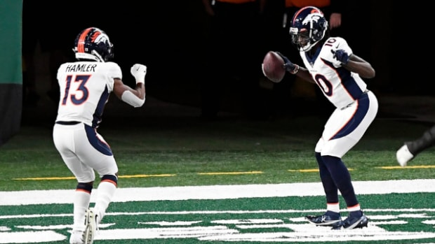 Denver Broncos wide receiver Jerry Jeudy (10) celebrates his touchdown with KJ Hamler (13) in the first half against the New York Jets at MetLife Stadium on Thursday, Oct. 1, 2020, in East Rutherford. Nfl Jets Broncos