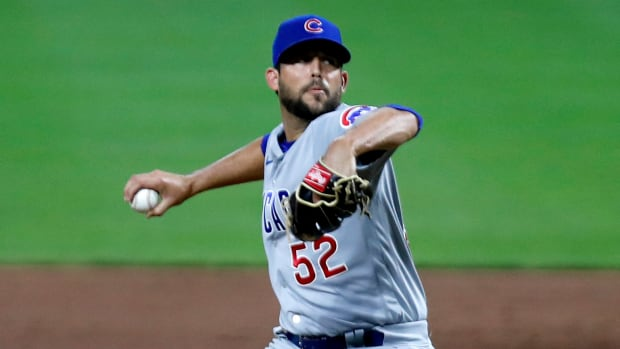 Cubs reliever Ryan Tepera throws a pitch