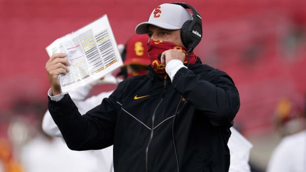Southern California Trojans head coach Clay Helton reacts in the second quarter Arizona State Sun Devils at the Los Angeles Memorial Coliseum.
