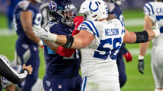 Indianapolis Colts offensive left guard Quenton Nelson, shown in Thursday's road win at Tennessee, was named to the Pro Football Focus 'Team of the Week.'