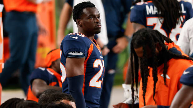 Denver Broncos cornerback Michael Ojemudia (23) in the fourth quarter against the Tennessee Titans at Empower Field at Mile High.