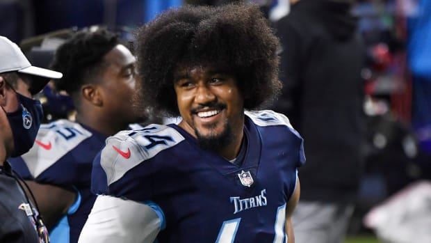 Tennessee Titans defensive end Vic Beasley (44) smiles after the team s 42-16 win over the Buffalo Bills at Nissan Stadium Tuesday, Oct. 13, 2020 in Nashville, Tenn.