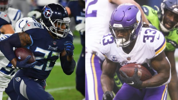 Derrick Henry of the Tennessee Titans and Dalvin Cook of the Minnesota Vikings are the leading contenders for the 2020 NFL rushing title.