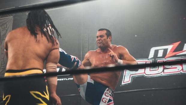 Davey Boy Smith Jr. in the ring with Jacob Fatu