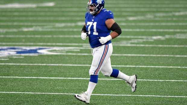 New York Giants guard Will Hernandez (71) runs onto the field to play a snap against the Philadelphia Eagles in the second half. The Giants defeat the Eagles, 27-17, at MetLife Stadium on Sunday, Nov. 15, 2020. Nyg Vs Phi