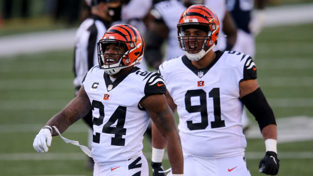 Cincinnati Bengals strong safety Vonn Bell (24) celebrates after a hit on quarterback Tennessee Titans quarterback Ryan Tannehill (17) (not pictured) during the fourth quarter of a Week 8 NFL football game, Sunday, Nov. 1, 2020, at Paul Brown Stadium in Cincinnati. The Cincinnati Bengals won 31-20. Tennessee Titans At Cincinnati Bengals Nov 1