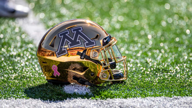 A general view of Minnesota Golden Gophers helmet before a game against the Maryland Terrapins at TCF Bank Stadium.