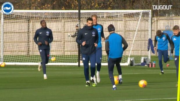 Brighton stars in training before Aston Villa match
