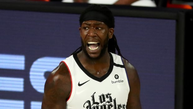 LA Clippers forward Montrezl Harrell (5) reacts after receiving a foul during the second half of game five against the Denver Nuggets in the second round of the 2020 NBA Playoffs