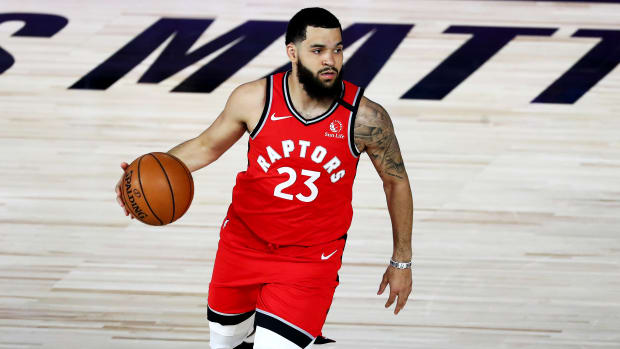 Sep 7, 2020; Lake Buena Vista, Florida, USA; Toronto Raptors guard Fred VanVleet (23) dribbles the ball against the Boston Celtics during the first half of game five of the second round in the 2020 NBA Playoffs at ESPN Wide World of Sports Complex.