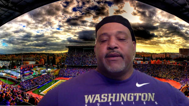 Donald Jones came up with this Husky Stadium video graphic himself to facilitate an interview with him on his 1991 Husky team.