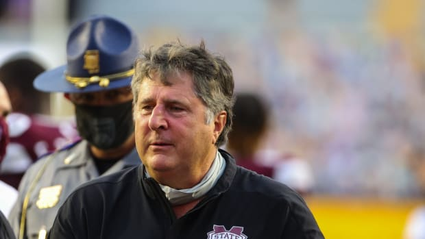 Mississippi State Bulldogs head coach Mike Leach following a 44-34 win against the LSU Tigers at Tiger Stadium. Mandatory Credit: Derick E. Hingle-USA TODAY Sports