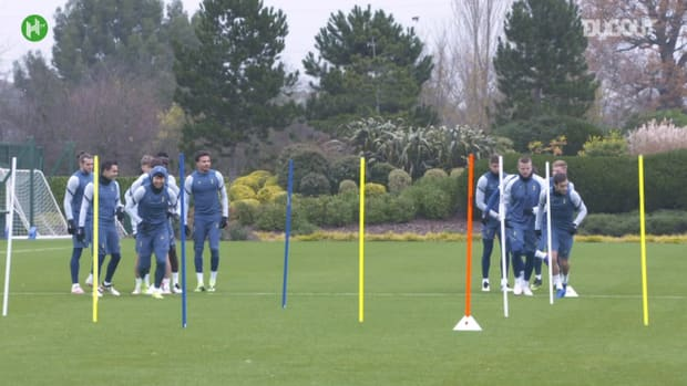 Spurs players in training before Ludogorets clash