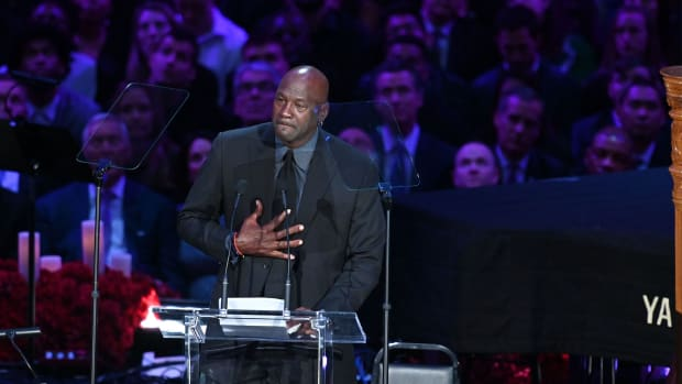 Feb 24, 2020; Los Angeles, California, USA; NBA legend Michael Jordan speaks to the audience during the memorial to celebrate the life of Kobe Bryant and daughter Gianna Bryant at Staples Center. Mandatory Credit: Robert Hanashiro-USA TODAY Sports