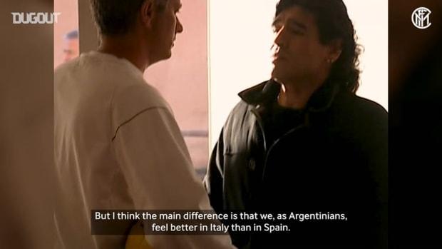 Maradona's visit at Inter training ground