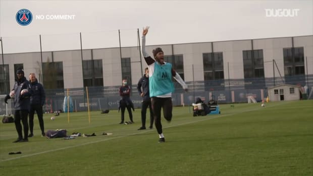 Paris Saint-Germain players practice basketball during one of their training sessions