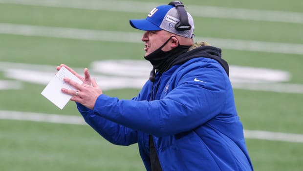 Nov 15, 2020; East Rutherford, New Jersey, USA; New York Giants head coach Joe Judge coaches during the first half against the Philadelphia Eagles at MetLife Stadium.