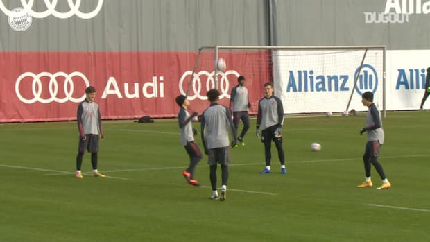 FC Bayern train before taking on Atlético Madrid