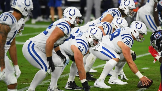 The Indianapolis Colts offense line will be without injured left tackle Anthony Castonzo (74) for Sunday's road game at the Houston Texans.