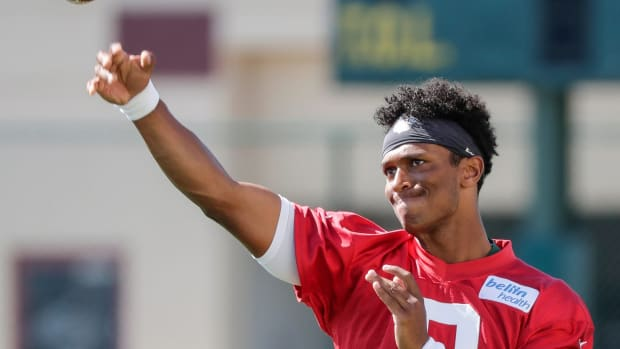 Quarterback DeShone Kizer (9) warms up during Green Bay Packers training camp at Ray Nitschke Field Thursday, August 1, 2019, in Ashwaubenon, Wis.