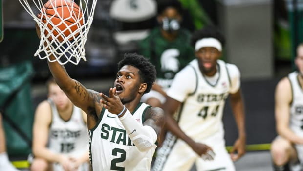 Michigan State's Rocket Watts scores on a layup against Eastern Michigan during the second half on Wednesday, Nov. 25, 2020, at the Breslin Center in East Lansing.