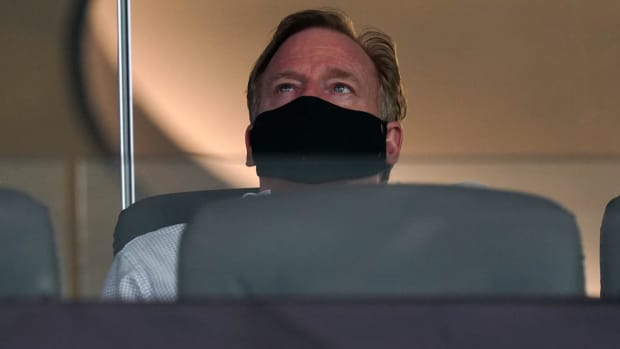 NFL commissioner Roger Goodell wears a face mask during the game between the Dallas Cowboys and the Los Angeles Rams at SoFi Stadium. The Rams defeated the Cowoboys 20-17.