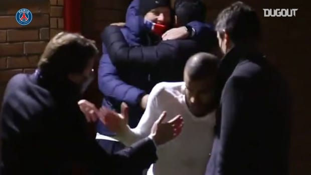 Paris Saint-Germain's post-match celebrations after the win vs Manchester United
