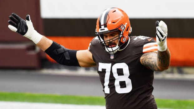 Cleveland Browns offensive tackle Jack Conklin (78) is introduced before the game between the Cleveland Browns and the Indianapolis Colts at FirstEnergy Stadium.