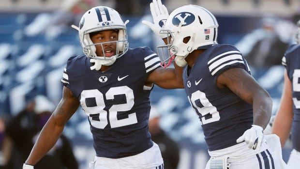 BYU players celebrate during a recent win
