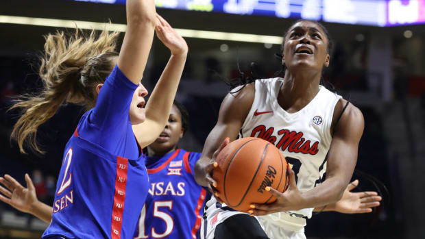 Ole Miss Women's Basketball vs Kansas on December 3rd, 2020 at The Pavilion in Oxford, MS.Photo by Joshua McCoy/Ole Miss Athletics