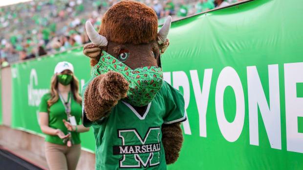 Nov 7, 2020; Huntington, West Virginia, USA; The Marshall Thundering Herd mascot celebrates during the fourth quarter against the Massachusetts Minutemen at Joan C. Edwards Stadium.